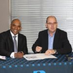 ABB Motion National Sales Manager, Ryan Chetty and BI Business Unit Head Ross Trevelyan signing the partnership agreement